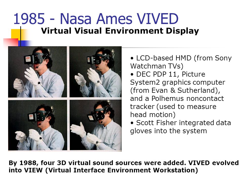 1985 - Nasa Ames VIVED Virtual Visual Environment Display LCD-based HMD (from Sony Watchman TVs) DEC PDP 11, Picture System2 graphics computer (from E