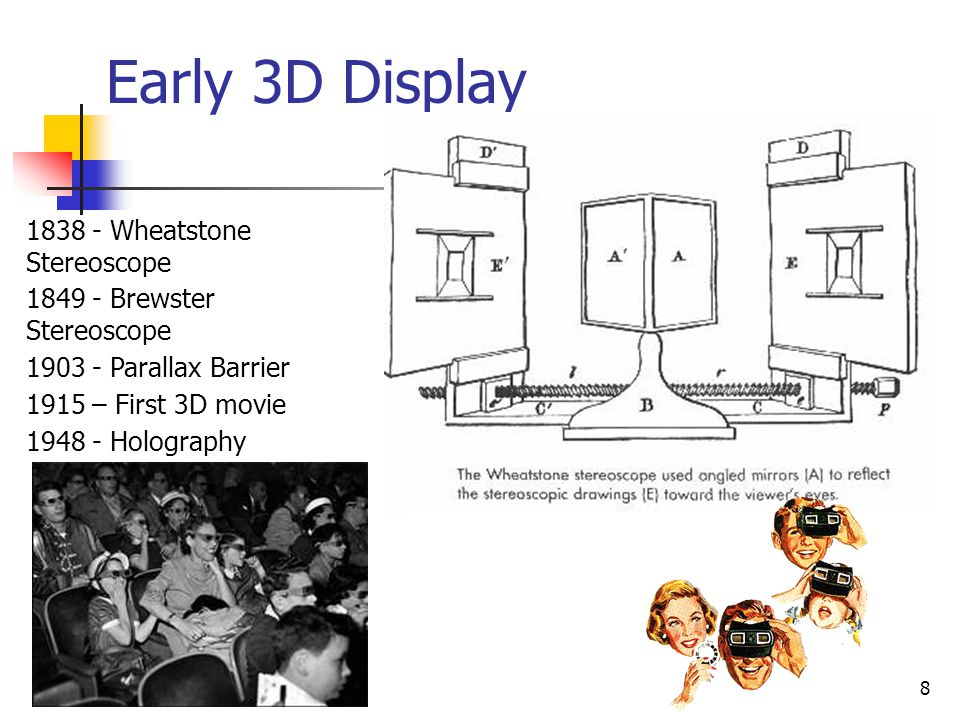 8 Early 3D Display 1838 - Wheatstone Stereoscope 1849 - Brewster Stereoscope 1903 - Parallax Barrier 1915 – First 3D movie 1948 - Holography