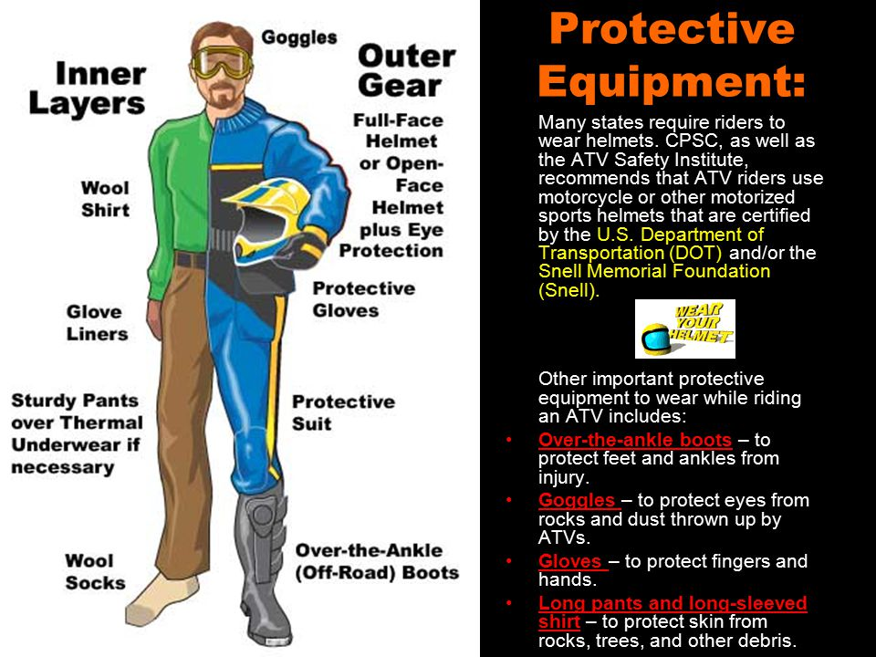 Protective Equipment: Many states require riders to wear helmets.