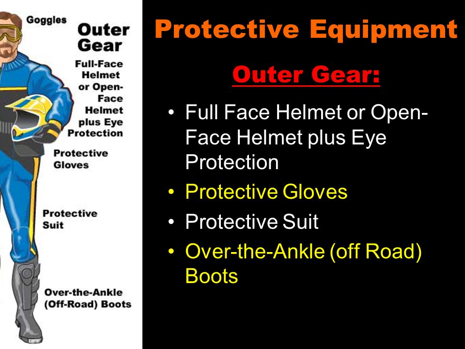Protective Equipment Full Face Helmet or Open- Face Helmet plus Eye Protection Protective Gloves Protective Suit Over-the-Ankle (off Road) Boots Outer