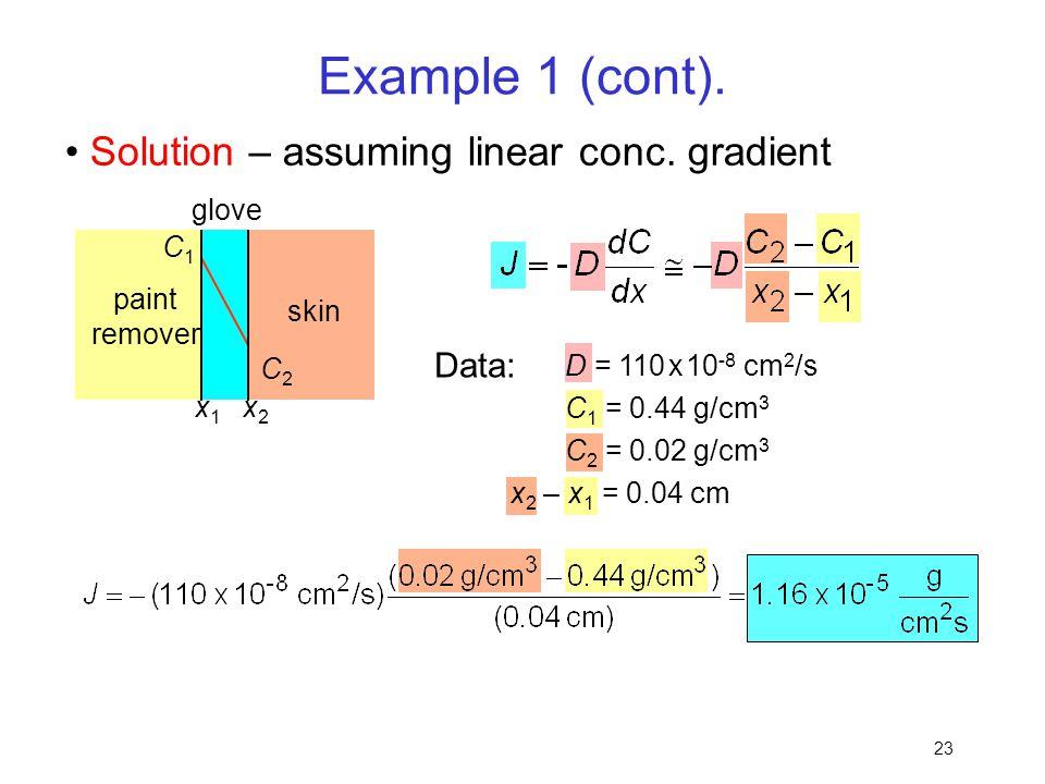 23 Example 1 (cont). glove C1C1 C2C2 skin paint remover x1x1 x2x2 Solution – assuming linear conc. gradient D = 110 x 10 -8 cm 2 /s C 2 = 0.02 g/cm 3