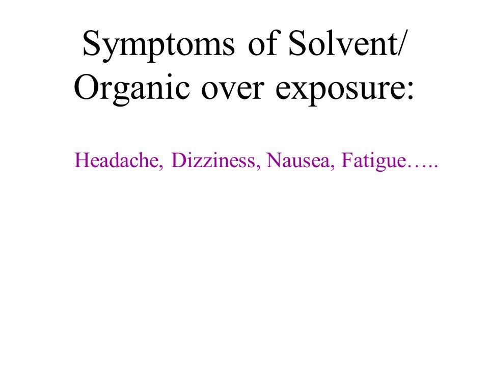 Symptoms of Solvent/ Organic over exposure: Headache, Dizziness, Nausea, Fatigue…..