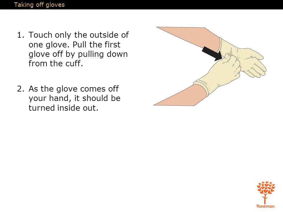 Taking off gloves 1.Touch only the outside of one glove. Pull the first glove off by pulling down from the cuff. 2.As the glove comes off your hand, i