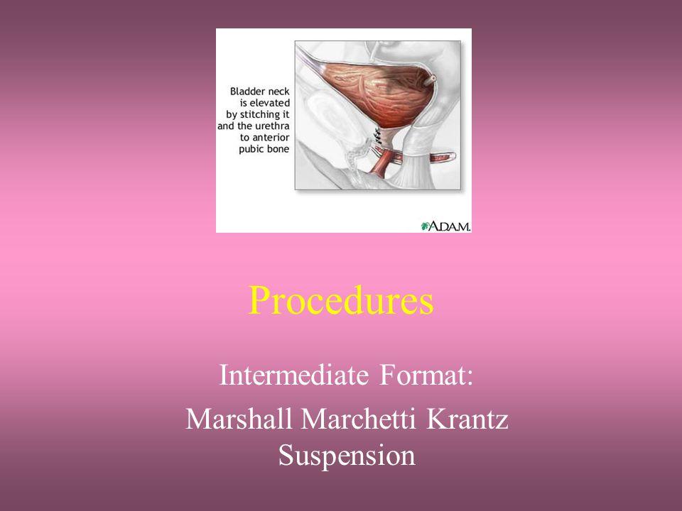Procedures Intermediate Format: Marshall Marchetti Krantz Suspension