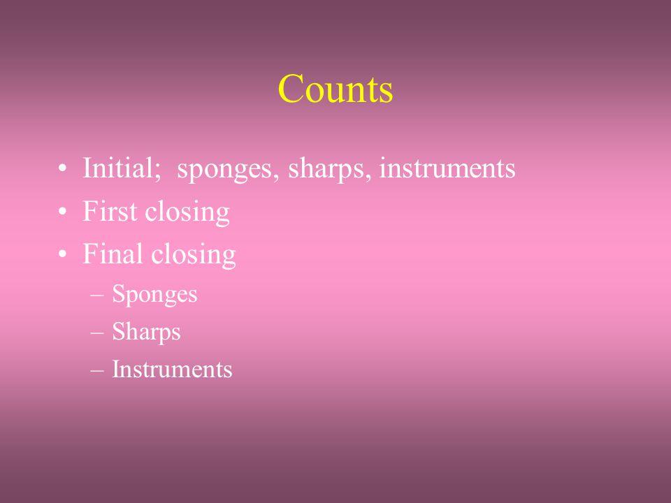 Counts Initial; sponges, sharps, instruments First closing Final closing –Sponges –Sharps –Instruments