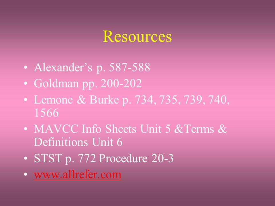 Resources Alexander's p. 587-588 Goldman pp. 200-202 Lemone & Burke p. 734, 735, 739, 740, 1566 MAVCC Info Sheets Unit 5 &Terms & Definitions Unit 6 S