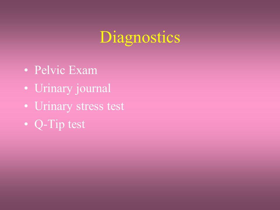 Diagnostics Pelvic Exam Urinary journal Urinary stress test Q-Tip test