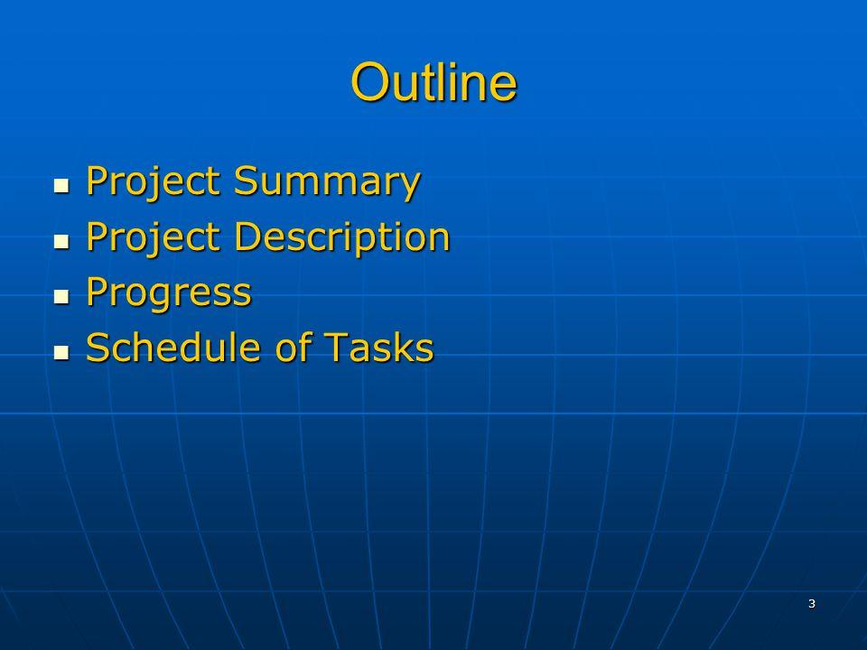 3 Outline Project Summary Project Summary Project Description Project Description Progress Progress Schedule of Tasks Schedule of Tasks