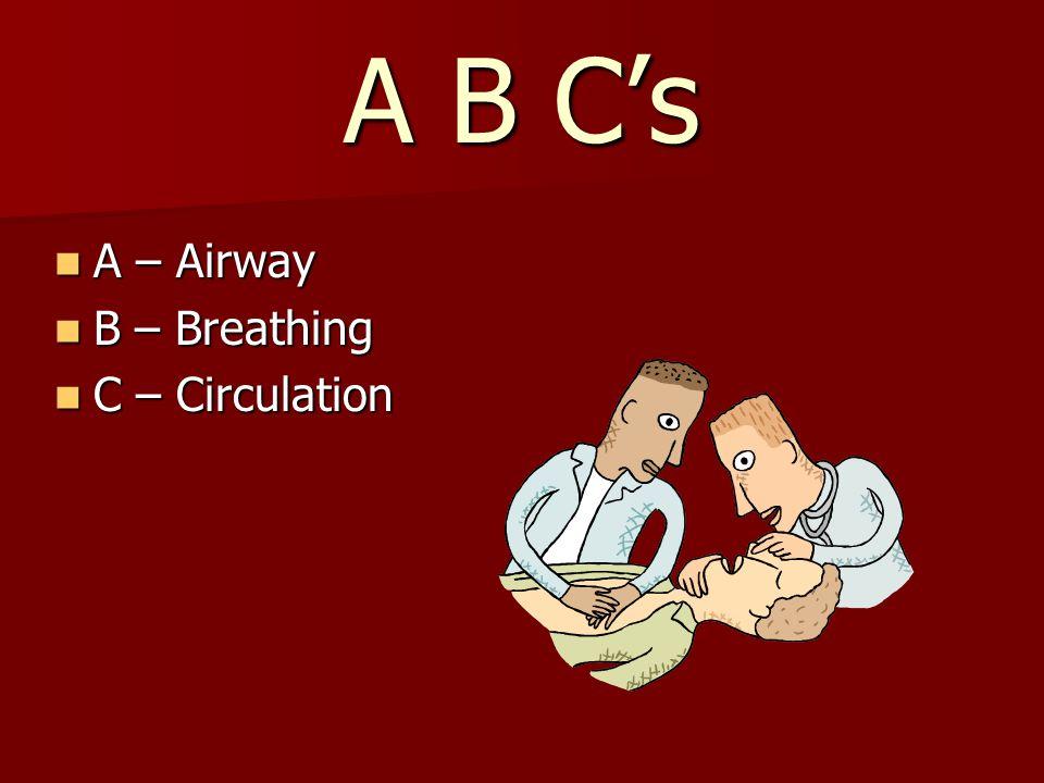 A B C's A – Airway A – Airway B – Breathing B – Breathing C – Circulation C – Circulation