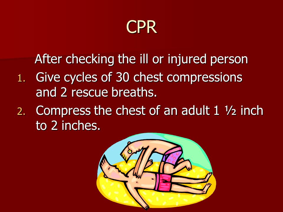 CPR After checking the ill or injured person 1.
