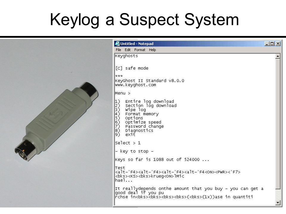 Keylog a Suspect System