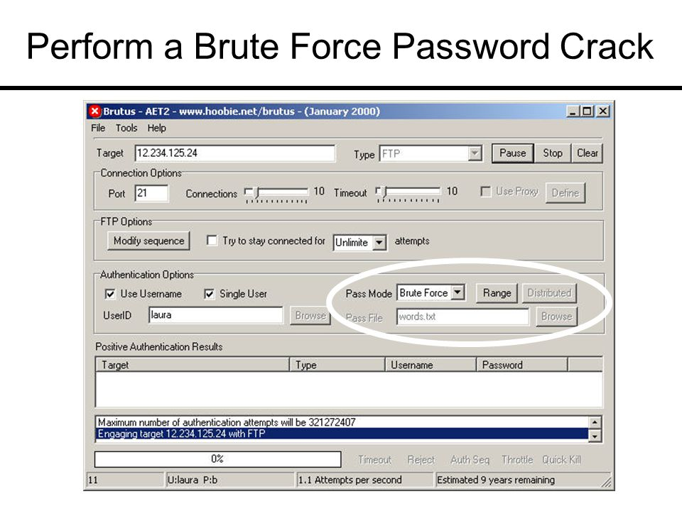 Perform a Brute Force Password Crack