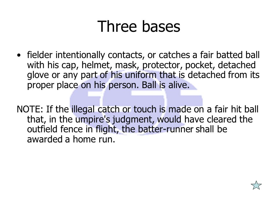 Three bases fielder intentionally contacts, or catches a fair batted ball with his cap, helmet, mask, protector, pocket, detached glove or any part of his uniform that is detached from its proper place on his person.