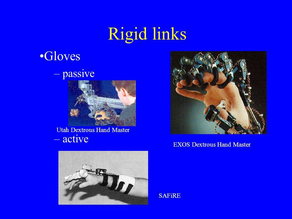 Rigid links Gloves – passive – active EXOS Dextrous Hand Master Utah Dextrous Hand Master SAFiRE
