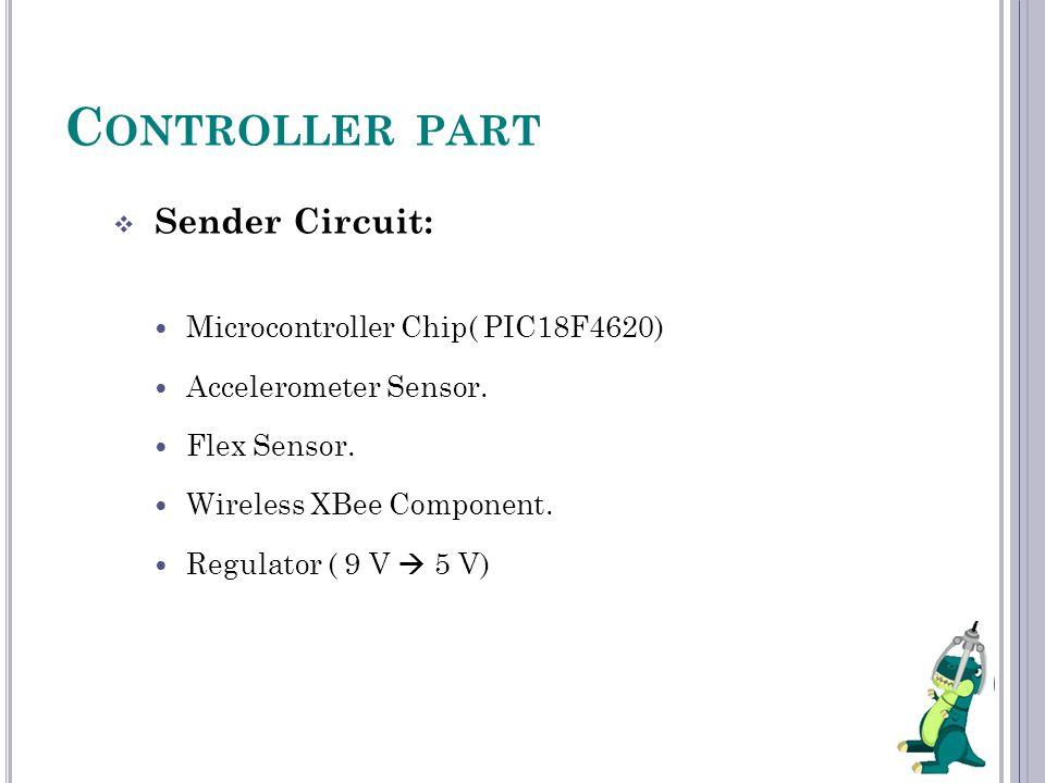 C ONTROLLER PART  Sender Circuit: Microcontroller Chip( PIC18F4620) Accelerometer Sensor. Flex Sensor. Wireless XBee Component. Regulator ( 9 V  5 V