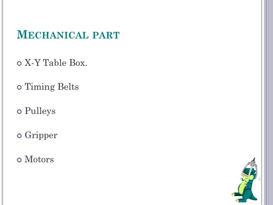 X-Y Table Box. Timing Belts Pulleys Gripper Motors