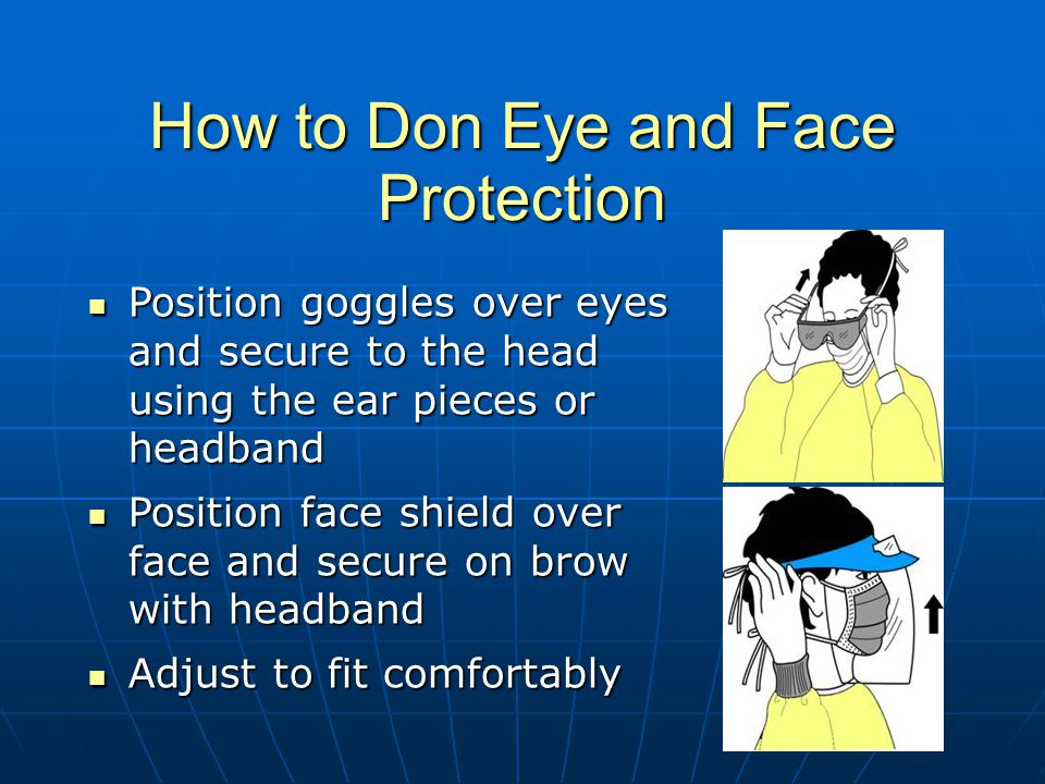 How to Don Eye and Face Protection Position goggles over eyes and secure to the head using the ear pieces or headband Position goggles over eyes and secure to the head using the ear pieces or headband Position face shield over face and secure on brow with headband Position face shield over face and secure on brow with headband Adjust to fit comfortably Adjust to fit comfortably