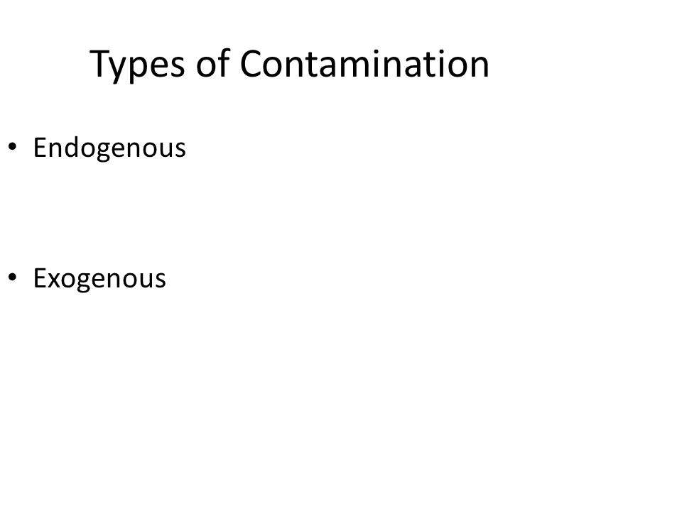 Types of Contamination Endogenous Exogenous
