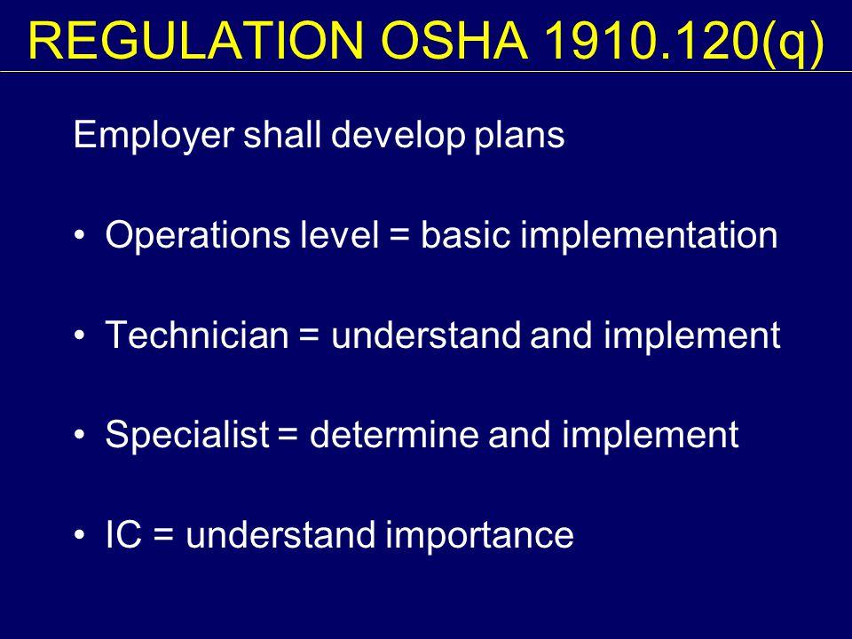 REGULATION OSHA 1910.120(q) Employer shall develop plans Operations level = basic implementation Technician = understand and implement Specialist = de