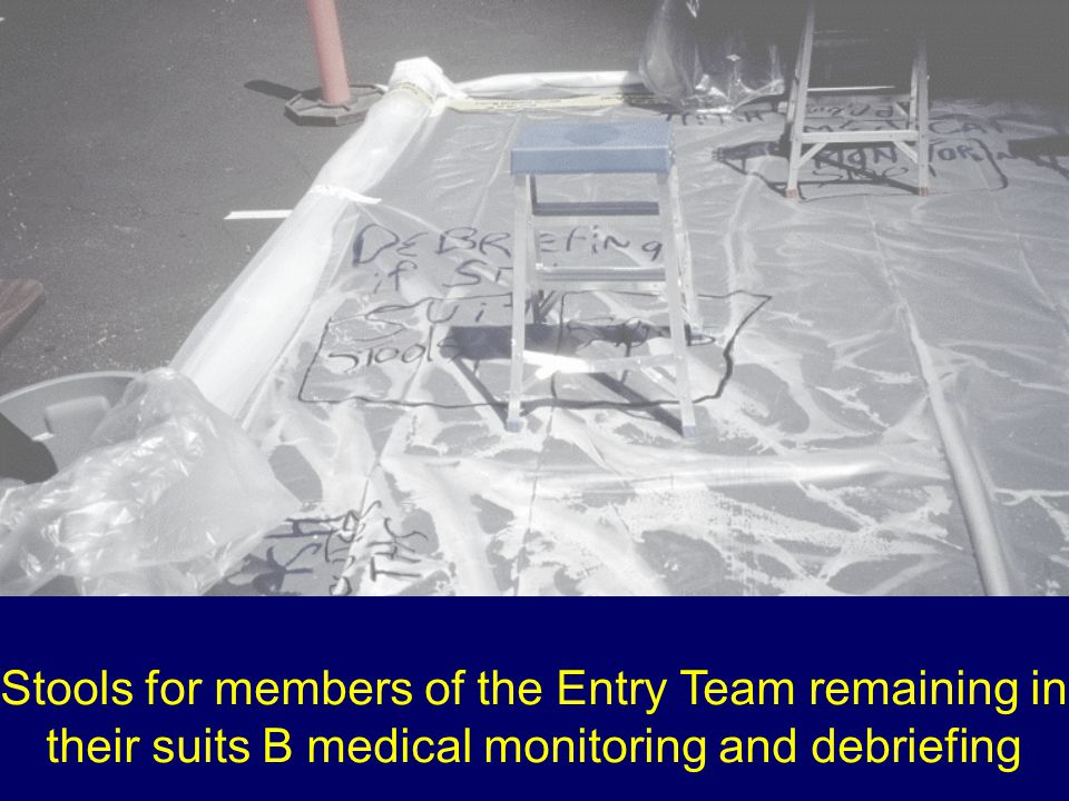 Stools for members of the Entry Team remaining in their suits B medical monitoring and debriefing
