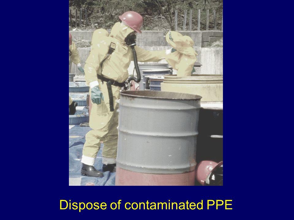 Dispose of contaminated PPE