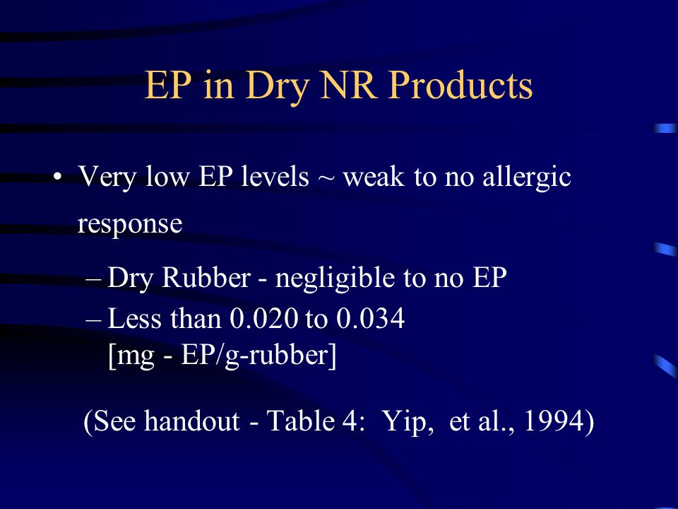 EP in Dry NR Products Very low EP levels ~ weak to no allergic response –Dry Rubber - negligible to no EP –Less than 0.020 to 0.034 [mg - EP/g-rubber] (See handout - Table 4: Yip, et al., 1994)