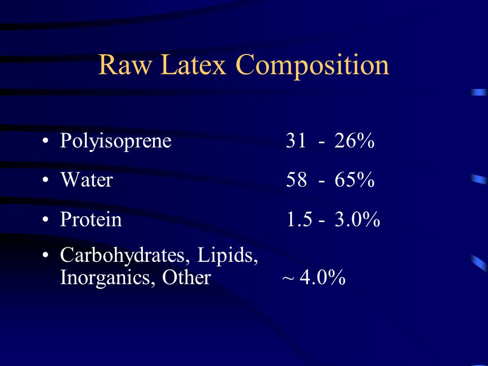 Raw Latex Composition Polyisoprene 31 - 26% Water58 - 65% Protein1.5 - 3.0% Carbohydrates, Lipids, Inorganics, Other ~ 4.0%