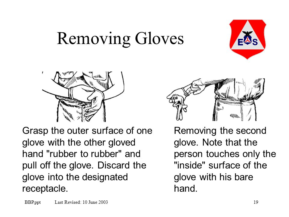 19BBP.ppt Last Revised: 10 June 2003 Removing Gloves Grasp the outer surface of one glove with the other gloved hand rubber to rubber and pull off the glove.