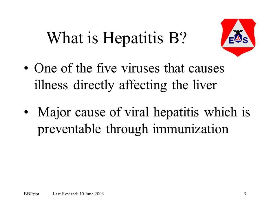 3BBP.ppt Last Revised: 10 June 2003 What is Hepatitis B.