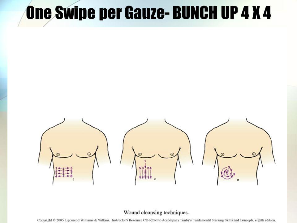 One Swipe per Gauze- BUNCH UP 4 X 4