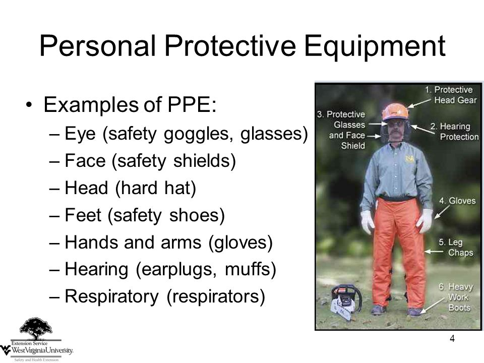 4 Personal Protective Equipment Examples of PPE: –Eye (safety goggles, glasses) –Face (safety shields) –Head (hard hat) –Feet (safety shoes) –Hands and arms (gloves) –Hearing (earplugs, muffs) –Respiratory (respirators)