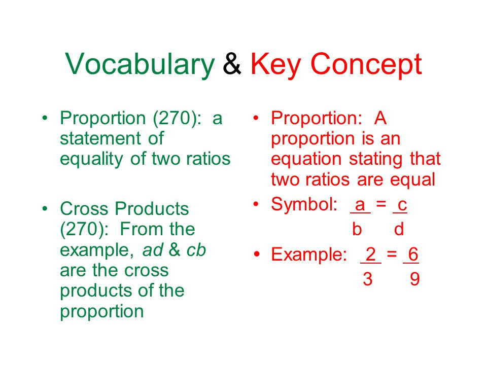 Vocabulary & Key Concept Proportion (270): a statement of equality of two ratios Cross Products (270): From the example, ad & cb are the cross products of the proportion Proportion: A proportion is an equation stating that two ratios are equal Symbol: a = c b d  Example: 2 = 6 3 9