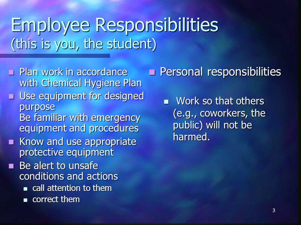 2 OHSA Hazard Communication Standard from 1988. Employer responsibility Employer responsibility Provide Information Provide Information Chemical Hygie