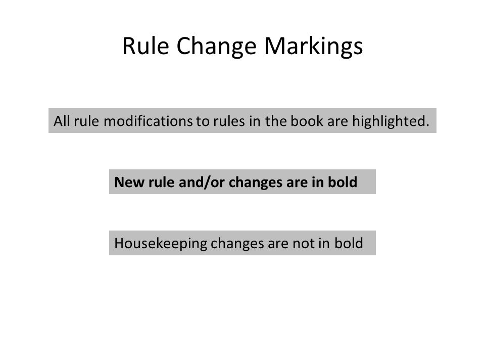 Rule Change Markings All rule modifications to rules in the book are highlighted.
