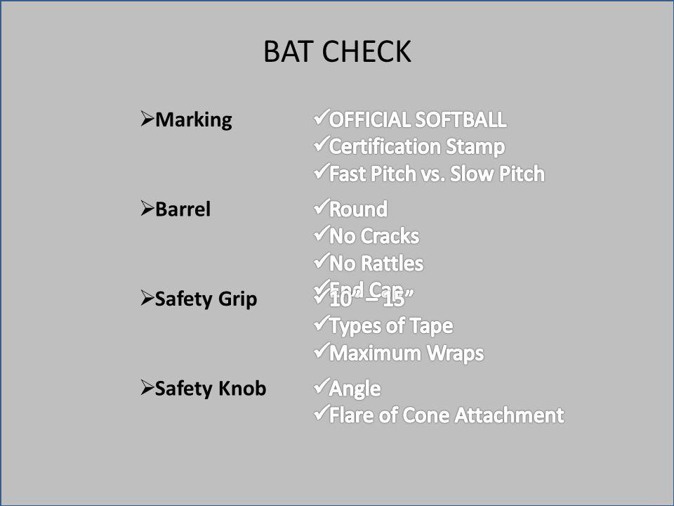 BAT CHECK  Marking  Barrel  Safety Grip  Safety Knob