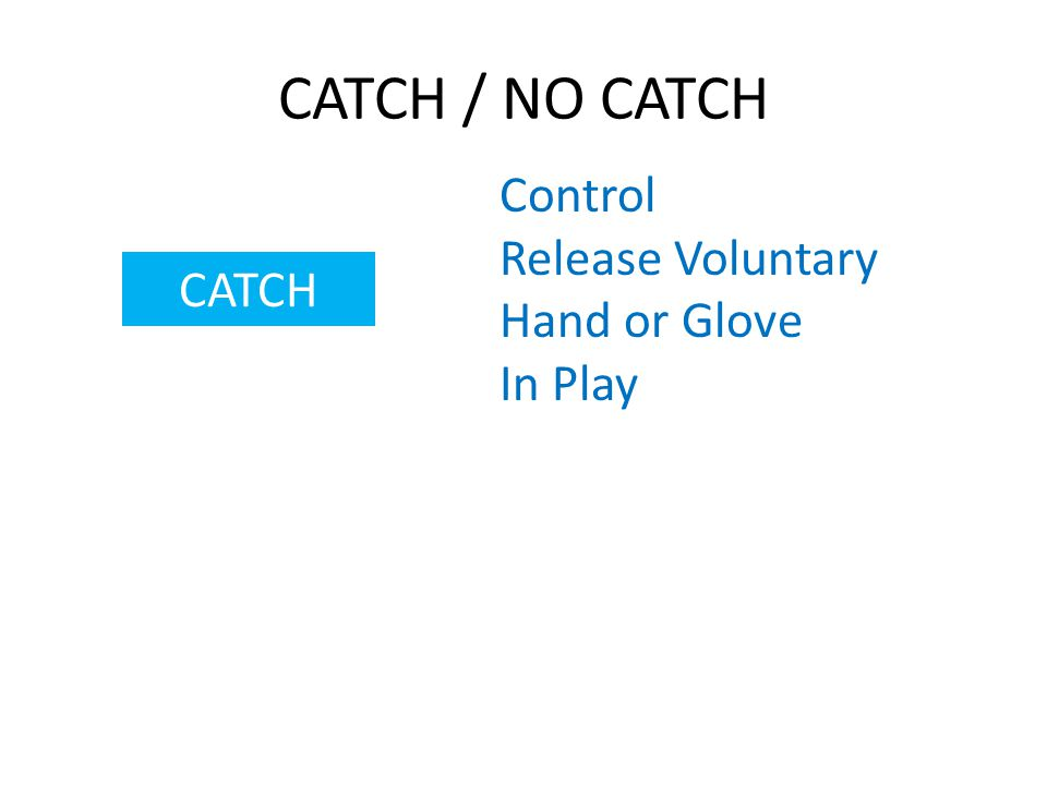 CATCH / NO CATCH CATCH Control Release Voluntary Hand or Glove In Play