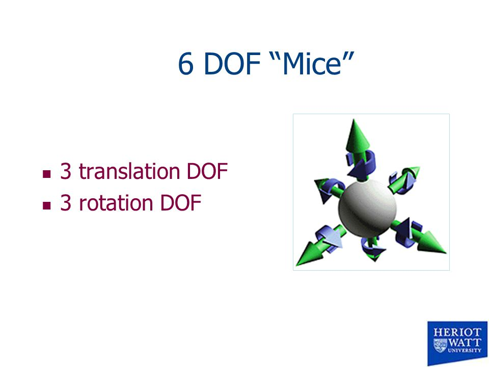 6 DOF Mice n 3 translation DOF n 3 rotation DOF