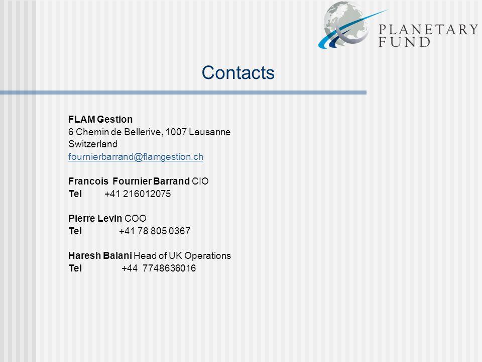 Contacts FLAM Gestion 6 Chemin de Bellerive, 1007 Lausanne Switzerland fournierbarrand@flamgestion.ch Francois Fournier Barrand CIO Tel +41 216012075