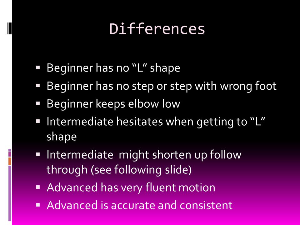 Differences  Beginner has no L shape  Beginner has no step or step with wrong foot  Beginner keeps elbow low  Intermediate hesitates when getting to L shape  Intermediate might shorten up follow through (see following slide)  Advanced has very fluent motion  Advanced is accurate and consistent