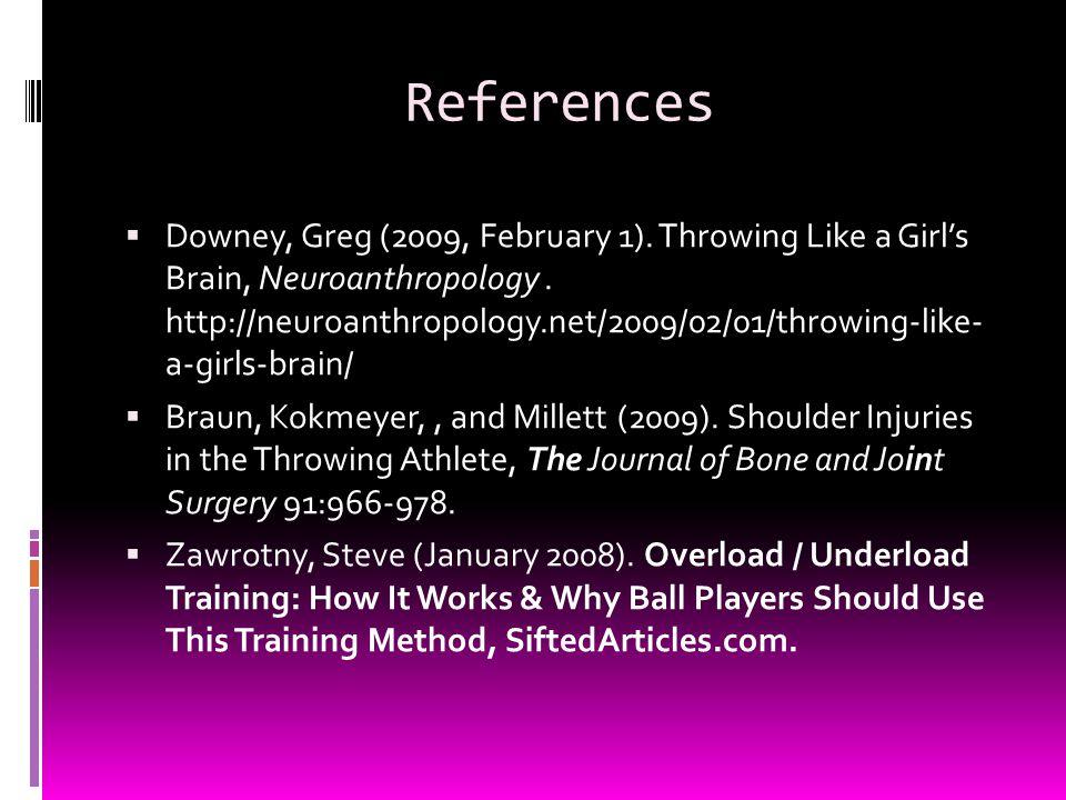 References  Downey, Greg (2009, February 1). Throwing Like a Girl's Brain, Neuroanthropology. http://neuroanthropology.net/2009/02/01/throwing-like-