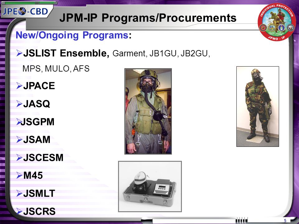 5 New/Ongoing Programs:  JSLIST Ensemble, Garment, JB1GU, JB2GU, MPS, MULO, AFS  JPACE  JASQ  JSGPM  JSAM  JSCESM  M45  JSMLT  JSCRS JPM-IP Programs/Procurements