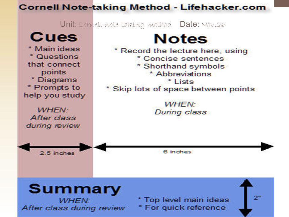 Unit: Cornell note-taking method Date: Nov.26