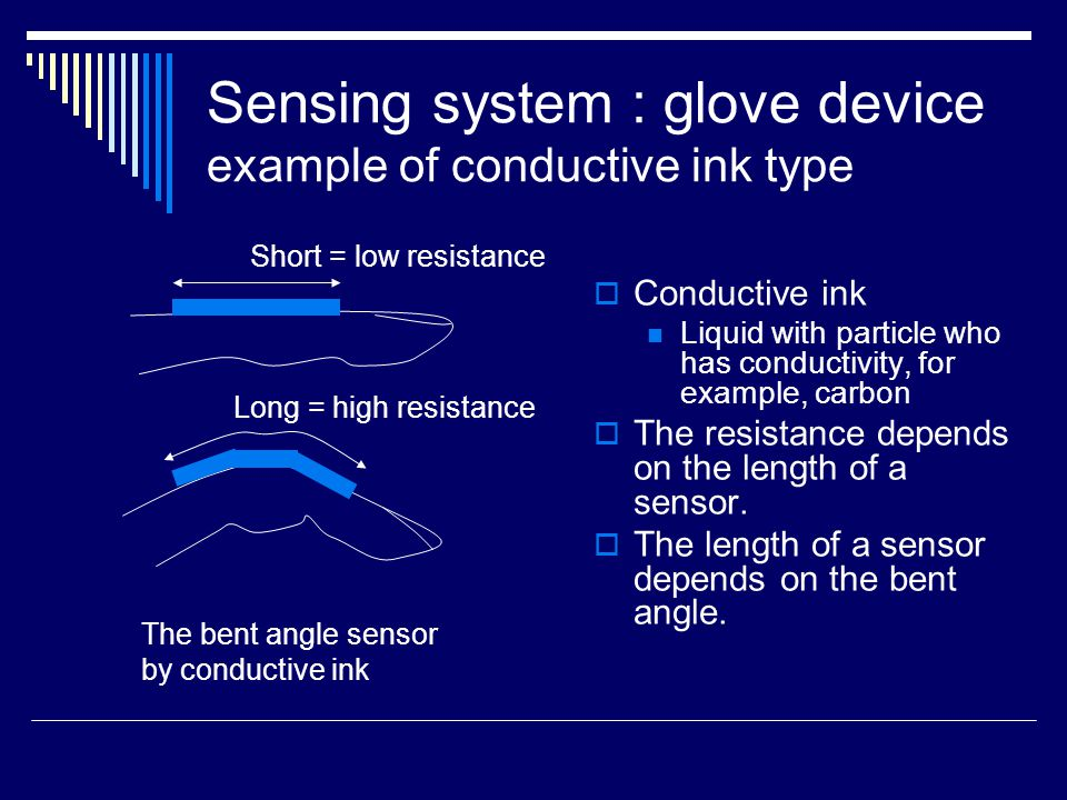 Immersion Inc, CyberGlove  The number of sensor : 18 or 22 18 models  2 sensor for each fingers, the root of thums, the bent angle and twist of wrist 22 models  18 models + 4 No.1 angles of each finger  precision : 0.5 degree  Refresh rate : 149 record/s Sensing system : glove device example of conductive ink type