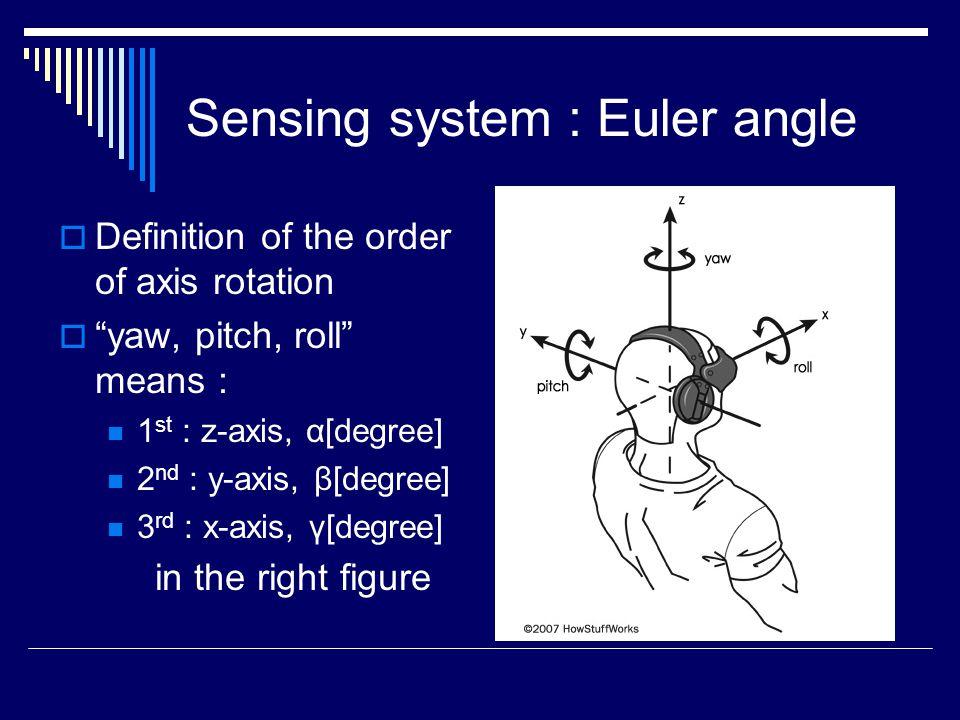 Sensing System : Euler angle (X,Y,Z) : World coordinate system (x,y,z) : Local coordinate system