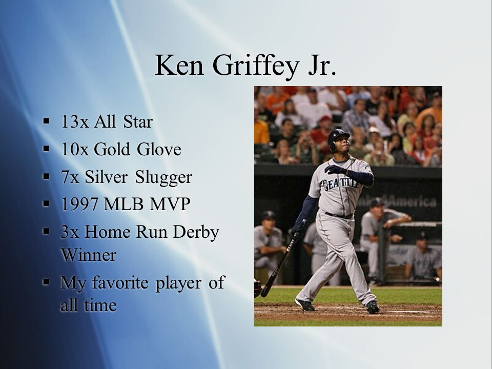 Ken Griffey Jr.  13x All Star  10x Gold Glove  7x Silver Slugger  1997 MLB MVP  3x Home Run Derby Winner  My favorite player of all time  13x A