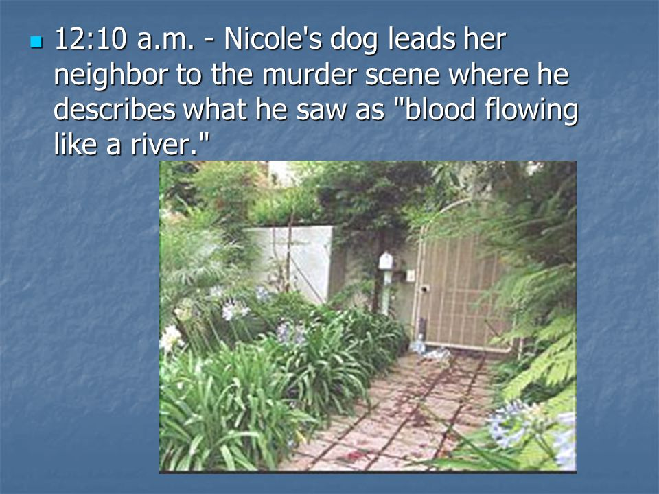 12:10 a.m. - Nicole's dog leads her neighbor to the murder scene where he describes what he saw as
