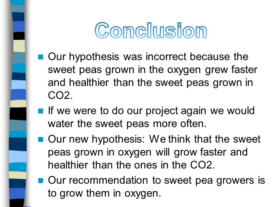 Our hypothesis was incorrect because the sweet peas grown in the oxygen grew faster and healthier than the sweet peas grown in CO2.