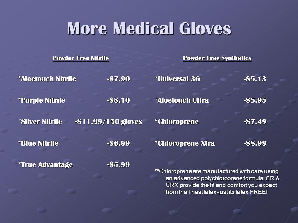 Medical Gloves Powder Free Latex *Polymed-$6.03 *Polymed TLC w/Vit E-$6.50 *Aloetouch -$6.20 *Cranberry SC w/Lanolin-$5.90 *Sigma-$5.99 *Sensi Grip-$5.10 Powdered Latex *Starmed-$4.34 *Sensi Grip-$4.40 *Cranberry-$5.07
