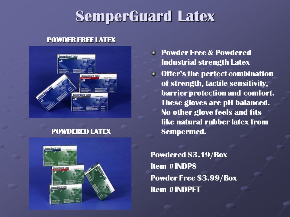 SEMPERMED INDUSTRIAL GLOVES SemperGuard HD Powder Free Latex- Thicker for heavy duty use. SemperGuard disposable powder free latex gloves provides an