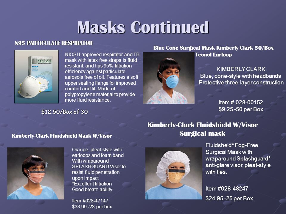 FACE MASKS Maytex ear-loop masks combine a unique fluid-resistant middle layer, with an ultra soft cellulose inner lining to provide superb breath ability Latex free ear loop design.